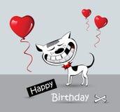 Leende för hund för katt för kort för lycklig födelsedag royaltyfri illustrationer