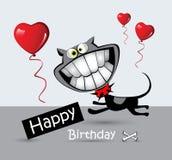 Leende för katt för kort för lycklig födelsedag stock illustrationer