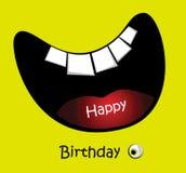 Leende för kort för lycklig födelsedag roligt stort stock illustrationer