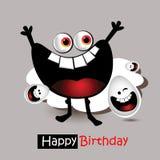 Leende och ägg för lycklig födelsedag royaltyfri illustrationer