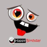 Leende och förälskelse för lycklig födelsedag vektor illustrationer