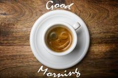 Leende på kaffe Royaltyfri Foto