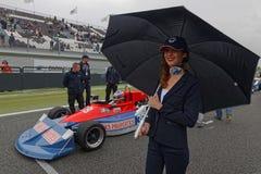 Leende, paraply och formel ett Royaltyfri Fotografi
