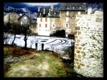 Leendet vinter är i townen Arkivfoton
