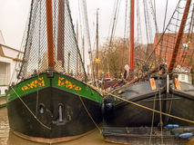 Leer, ancient boats moored in the marina Stock Images
