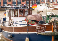Leer, ancient boats moored in the marina Royalty Free Stock Photo