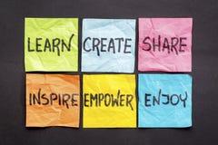 Leer, creeer, deel, en inspireer stock afbeeldingen