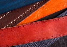 Leer gekleurd riemenclose-up royalty-vrije stock foto's