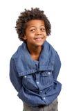 Leer. Little schoolboy slyly spy. Leer. Sly eyes Royalty Free Stock Image