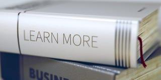 Leer meer - Bedrijfsboektitel 3d Stock Afbeelding