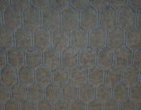 Leer met blauwe hexagon of honecomb grijze textuur wordt gestikt die stock fotografie