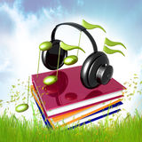 Leer muziek en lied door het symbool van het boekenpictogram Royalty-vrije Stock Afbeeldingen