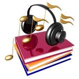 Leer muziek en lied door het symbool van het boekenpictogram Royalty-vrije Stock Foto's