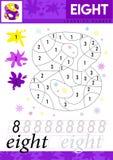 Leer nummer 8 acht De jonge geitjes leren om aantekenvel te tellen Kinderen onderwijsspel voor aantallen Vector illustratie stock illustratie