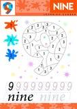 Leer nummer 9 negen De jonge geitjes leren om aantekenvel te tellen Kinderen onderwijsspel voor aantallen Vector illustratie vector illustratie