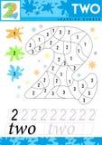 Leer nummer 2 Twee De jonge geitjes leren om aantekenvel te tellen Kinderen onderwijsspel voor aantallen Vector illustratie vector illustratie