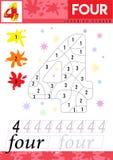 Leer nummer 4 vier De jonge geitjes leren om aantekenvel te tellen Kinderen onderwijsspel voor aantallen Vector illustratie stock illustratie