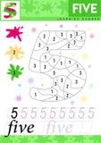 Leer nummer 5 vijf De jonge geitjes leren om aantekenvel te tellen Kinderen onderwijsspel voor aantallen Vector illustratie royalty-vrije illustratie