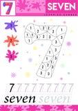 Leer nummer 7 zeven De jonge geitjes leren om aantekenvel te tellen Kinderen onderwijsspel voor aantallen Vector illustratie royalty-vrije illustratie