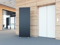 Leer rollen Sie oben bunner in der modernen Bürolobby Wiedergabe 3d Lizenzfreie Stockfotografie