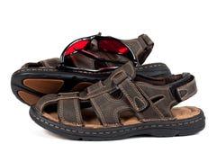 Leer Sandals met Zonnebril Stock Afbeelding
