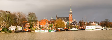 Leer, touristic harbor and the traditional boats Stock Photo