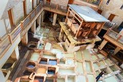 Leer traditionele looierij in Fez, Marokko Stock Afbeelding
