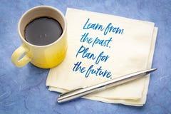 Leer van afgelopen Plan voor toekomst royalty-vrije stock foto