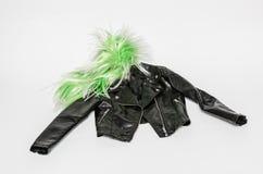 leer van de natuurlijke zwarte modieuze het modieuze dame, jasje met gestileerde ritssluitingen Royalty-vrije Stock Foto