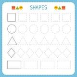 Leer vormen en geometrische cijfers Kleuterschool of kleuterschoolaantekenvel voor het uitoefenen van motorvaardigheden Vindende  vector illustratie
