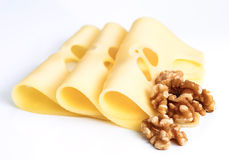 Leerdammer cheese slices with nuts Stock Photos