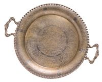 Leere alte Antike silberner vergoldeter Tracerybehälter lokalisiert auf weißem Hintergrund Retro- Art stockbild