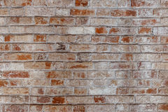 Leere alte Backsteinmauer-Beschaffenheit Gemalte beunruhigte Wand-Oberfläche Grungy breites Brickwall Lizenzfreie Stockfotos