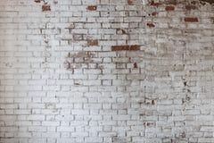 Leere alte Backsteinmauer-Beschaffenheit Gemalte beunruhigte Wand-Oberfläche Grungy breites Brickwall Lizenzfreie Stockbilder