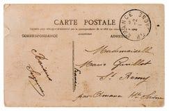 Leere antike französische Postkarte Retro- Artpapierhintergrund Lizenzfreies Stockfoto