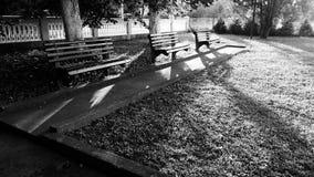 Leere Bänke im Park stockfotos