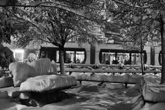 Leere Bank im verschneiten Winter Stockfoto