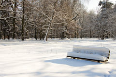 Leere Bank im Winter Stockfotos