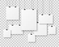Leere Bildergalerie Darstellungspapierplakate, saubere Werbungshängende Fahne des Fotosegeltuches auf Schnurvektor stock abbildung