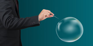 Leere Blase des Manngriffnadel-Stoßes Stockbild
