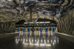 Leere blaue Metro in Stockholm Lizenzfreie Stockbilder