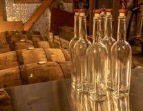 Leere Bourbon-Whisky-Flaschen stockbilder