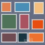 Leere Briefmarkeschablone stellte auf dunklen Hintergrund ein Rechteck- und QuadratBriefmarken für Umschläge, Postkarten Vektor i stock abbildung