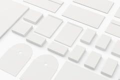Leere Briefpapier-Branding-Schablone lokalisiert auf Weiß. Stockbild