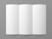 Leere dreifachgefaltete Weißbuchbroschüre der Broschüre Stockbild