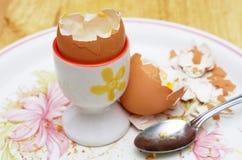Leere Eierschalen und silberner Löffel stockbild