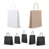 Leere Einkaufstaschen eingestellt Weiß, Brown, Schwarzes, Pappe Stellen Sie für die Werbung und das Einbrennen ein Modell-Paket lizenzfreie abbildung