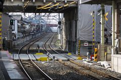 Leere Eisenbahnlinien Stockbild