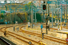 Leere Eisenbahnlinien in Tokyo Stockfotografie