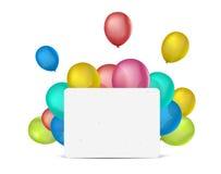 Leere Fahne gegen Hintergrund mit bunten Ballonen Platz für Text Lizenzfreies Stockbild